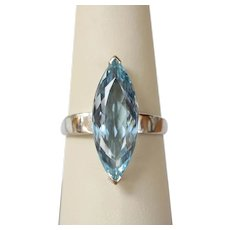 Vintage 5 Carat Marquis Aquamarine and 18K White Gold Solitaire Ring