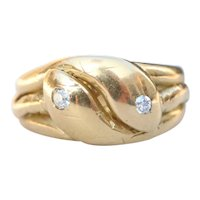 Antique 18K Gold and Diamond Double Snake Head Heavy Band Ring