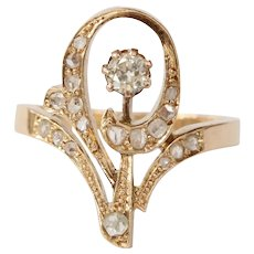 Russian Art Nouveau Diamond and 14K Gold Swirl Tiara Ring