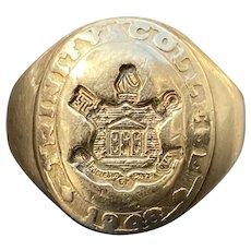 Vintage 10K Gold Turtle Trinity College Signet Ring