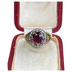 Victorian Rhodolite Garnet and Rose Cut Diamond 18K Gold Tulip Ring