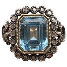Vintage Blue Topaz, Rose Cut Diamond 14K Gold Victorian Revival Ring