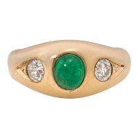 Art Deco Emerald and Diamond 14K Gold Gypsy Ring, Stacking Band