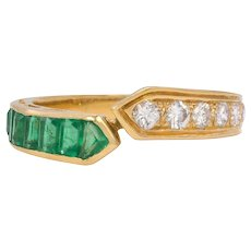 Vintage 18K Gold Diamond and Emerald Bypass Ring, Stacking Band