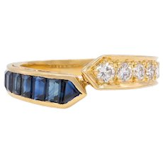 Vintage 18K Gold, Diamond and Sapphire Bypass Ring, Stacking Band