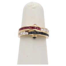 Vintage 18K Gold Carre Cut Diamond, Sapphire, and Ruby Wave Ring, 1970s Stacking Band