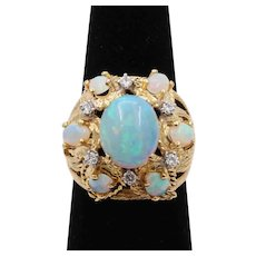 Vintage 18K Gold Opal and Diamond Cluster Ring, Statement October Birthstone Jewelry