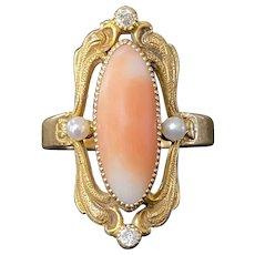 Art Nouveau Pink Coral, Diamond, Pearl 14K Gold Elongated Ring