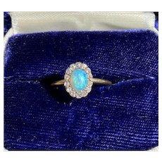 Victorian Australian Opal and Old Cut Diamond Halo 14K Gold Ring