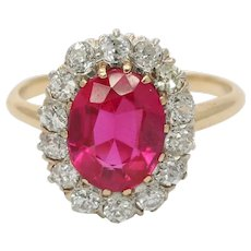 Art Deco Man Made Ruby and Diamond Halo 14K Gold Ring, Alternative Engagement