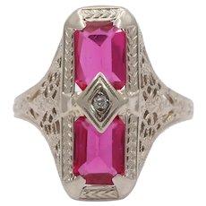 Art Deco 14K Gold Man-Made Ruby Filigree Ring, Rectangular Navette