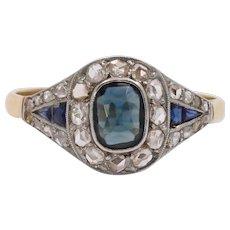 Edwardian Natural Sapphire and Rose Cut Diamond Ring, Alternative Engagement