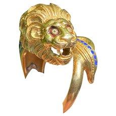 Vintage 18K Gold and Enamel Lion Head Wrap Ring, Animal Statement Band