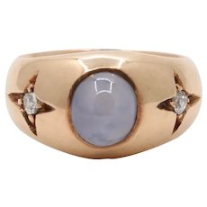 Vintage Star Sapphire and Diamond 14K Gold Gypsy Ring