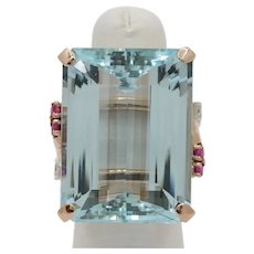 Midcentury 65 Carat Aquamarine Ruby and Diamond 14K Rose Gold Cocktail Ring