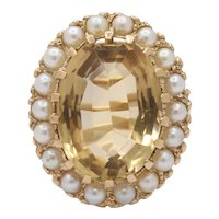 Vintage Natural Citrine and Seed Pearl Halo 9K Gold Ring