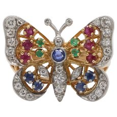 Diamond Ruby Sapphire and Emerald 18K Gold Butterfly Ring