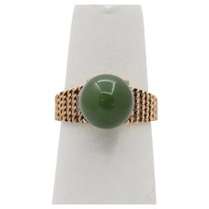 Vintage 14K Gold and Nephrite Jade Bead Ring