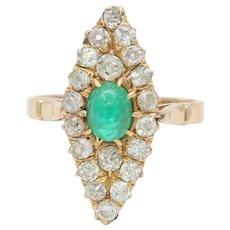 Edwardian Emerald and 1.46 Carat Diamond Navette 14K Gold Ring