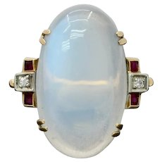 Midcentury Moonstone Ruby and Diamond 14K Gold Statement Ring