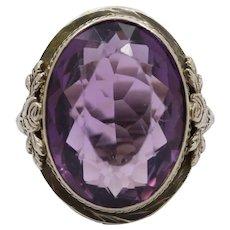 Large Art Deco 14K Gold Amethyst Rose Filigree Ring