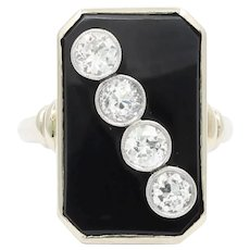 Art Deco 1 Carat Diamond and Onyx Platinum and 14K Gold Ring