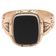 Victorian 14K Gold Banded Agate Unisex Signet Ring