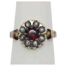Victorian Garnet and Split Pearl Enamel 10K Gold Ring