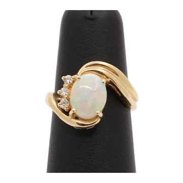 Vintage Australian Opal and Diamond 14K Gold Bypass Style Ring