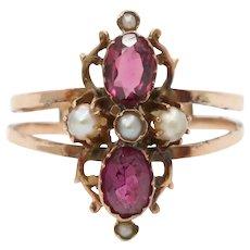 Victorian 14K Gold Rhodolite Garnet and Split Pearl Ring