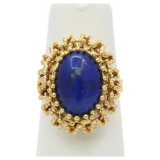Vintage Italian 18K Gold and Lapis Lazuli Ring