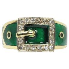 Vintage 18K Gold English Green Enamel and Diamond Buckle Ring