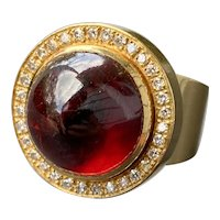 Cabochon Garnet and Diamond Halo Heavy 18K Gold Statement Ring