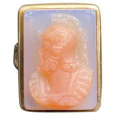Carved Pink Agate Soldier Centurion Cameo 14K Gold Unisex Ring