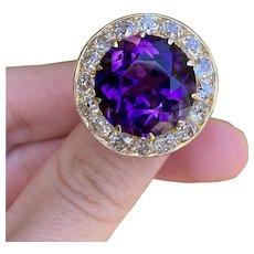 Large Midcentury 19 Carat Amethyst and 4 Carat Diamond 14K Gold Statement Ring