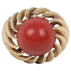 Vintage Oxblood Coral and 14K Gold Swirl Twist Ring