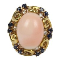 Natural Angel Skin Coral and Sapphire 18K Gold Cocktail Ring