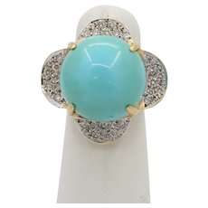 Large Natural Turquoise and 1.12 Carat Diamond 18K Gold Statement Ring