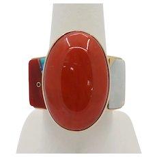 Jesse Monongya Native American 14K Gold Coral Opal Turquoise Lapis Inlaid Statement Ring