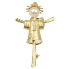 Vintage 14K Gold and Pearl Scarecrow Brooch Pin