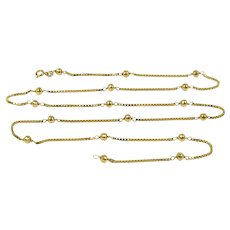 Italian 18K Gold 28 Inch Box Link and Ball Accent Chain Necklace