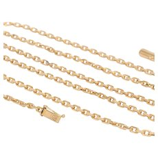 Solid Austrian Cable Link 18K Gold 36 Inch Long Heavy Necklace Chain