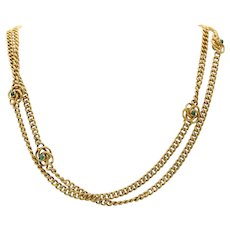 French Victorian 18K Gold and Turquoise Love Knot Infinity Longuard Chain