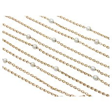 Victorian Heavy 14K Gold and Pearl 68 Inch Layering Chain Necklace