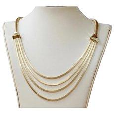 Vintage 14K Gold Layered Festoon Tubogas Style Necklace Chain
