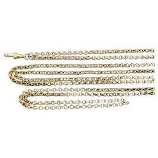 Antique 15K Gold 58 Inch Longuard Antique Chain Necklace