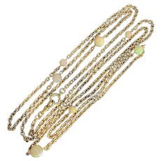 French 18K Gold and Opal 66 Inch Long Necklace, Chain