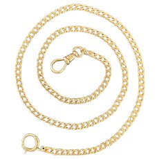 Antique 14K Gold 17.5 Inch Curb Link Watch Chain, Necklace