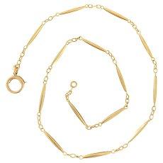 Art Deco 14K Gold 14.4 Inch Watch Chain, Choker