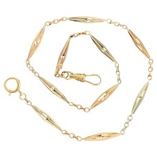 Art Deco 14K Bicolor 14 Inch Angular Link Pocket Watch Chain, Bracelet